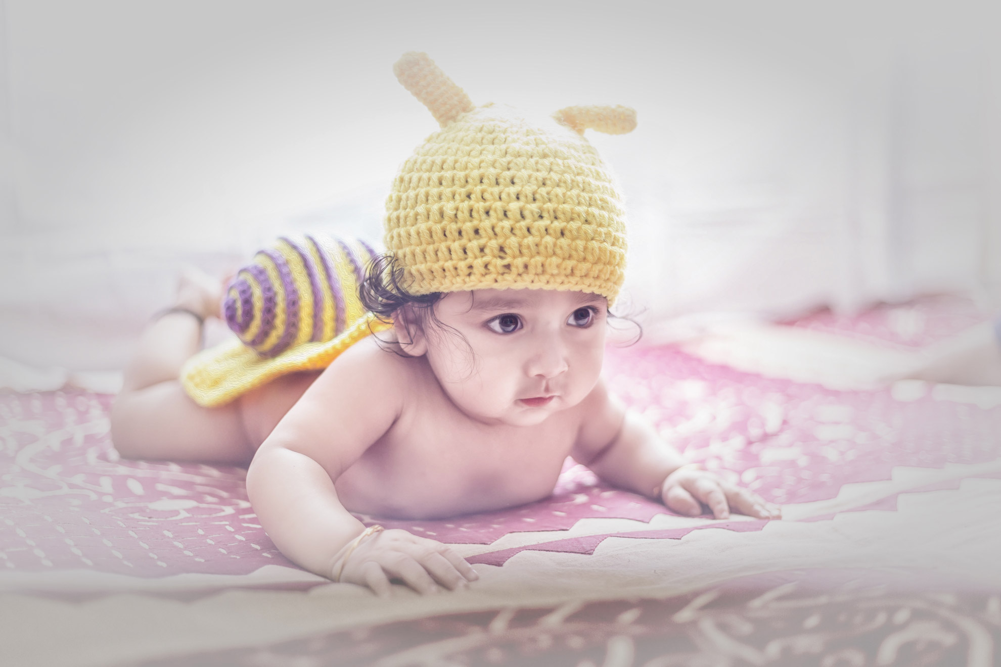 Snail Photoshoot Idea for 6 Month Baby Boy